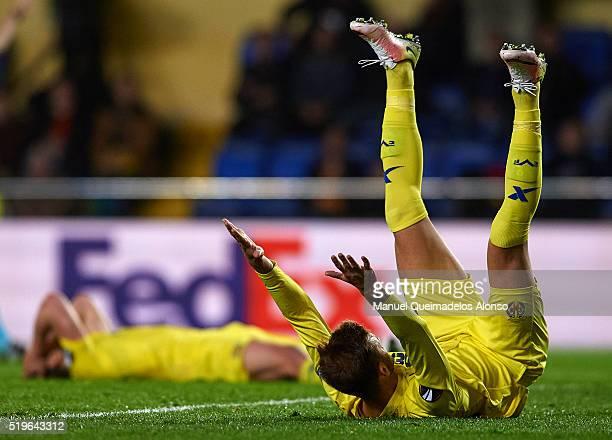 Leo Baptistato of Villarreal reacts during the UEFA Europa League Quarter Final first leg match between Villarreal CF and Sparta Prague at El...