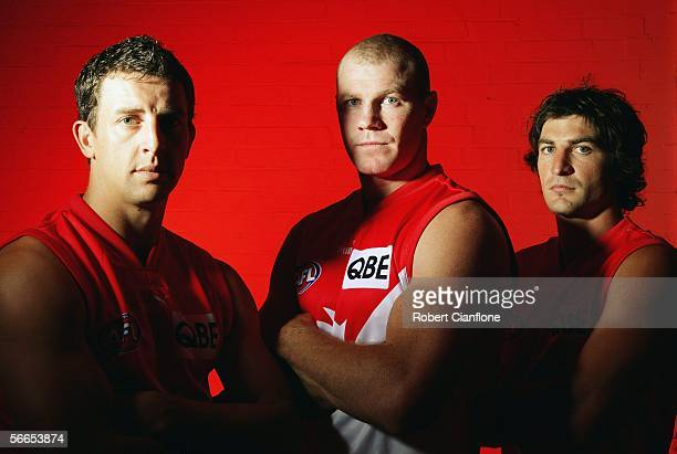 Leo Barry, Barry Hall and Brett Kirk of the Sydney Swans, who were all named as captains of the side for the 2006 season, pose for a portrait during...