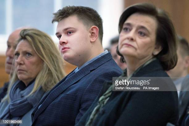 Leo Blair son of former British Prime Minister Tony Blair and Cherie Blair listen to Mr Blair during a speech to mark the 120th anniversary of the...