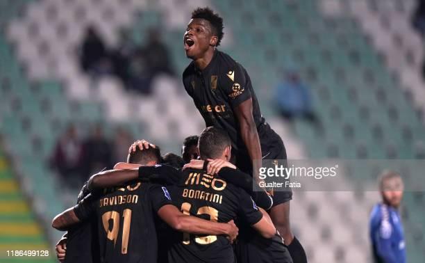 Leo Bonatini of Vitoria SC celebrates with teammates after scoring a goal during the Allianz Cup match between Vitoria FC and Vitoria SC at Estadio...