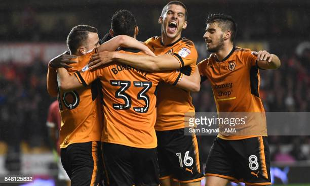 Leo Bonatini of Wolverhampton Wanderers celebrates after scoring a goal to make it 10 with Conor Coady of Wolverhampton Wanderers during the Sky Bet...