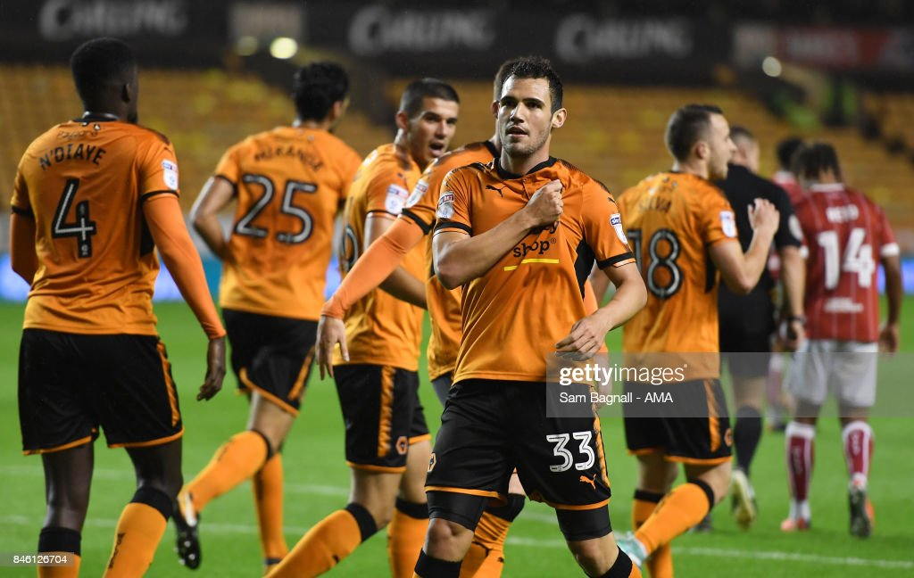 Leo Bonatini of Wolverhampton Wanderers celebrates after scoring a goal to make it 1-0 during the Sky Bet Championship match between Wolverhampton and Bristol City at Molineux on September 12, 2017 in Wolverhampton, England.