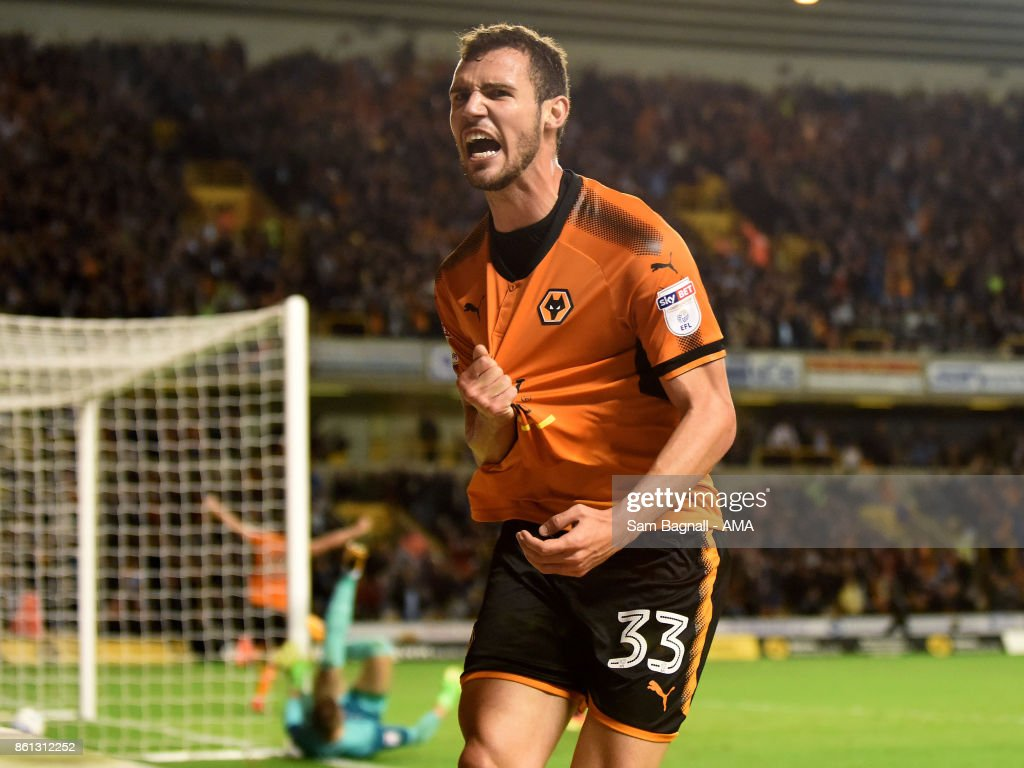 Leo Bonatini of Wolverhampton Wanderers celebrates after scoring a goal to make it 2-0 during the Sky Bet Championship match between Wolverhampton and Aston Villa at Molineux on October 14, 2017 in Wolverhampton, England.