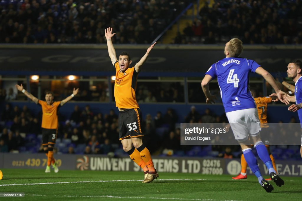 Leo Bonatini of Wolverhampton Wanderers celebrates after scoring their first goal during the Sky Bet Championship match between Birmingham City and Wolverhampton Wanderers at St Andrews on December 4, 2017 in Birmingham, England.