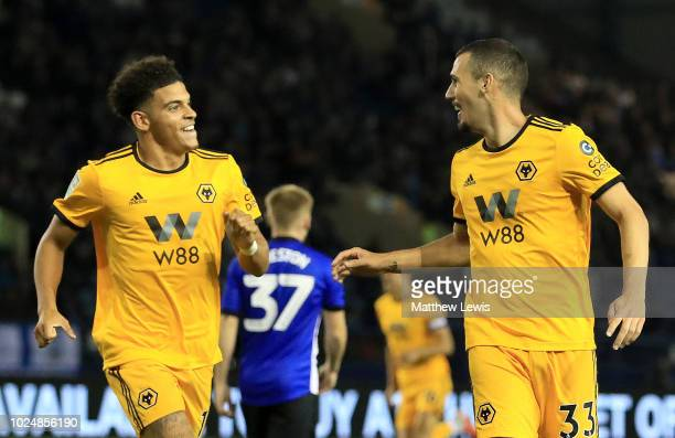 Leo Bonatini of Wolverhampton Wanderers celebrates with teammate Morgan GibbsWhite after scoring his team's first goal during the Carabao Cup Second...