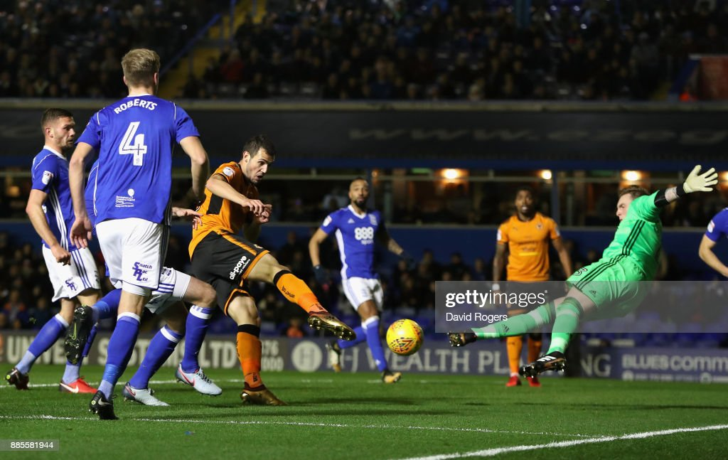 Leo Bonatini of Wolverhampton Wanderers scores his sides first goal during the Sky Bet Championship match between Birmingham City and Wolverhampton Wanderers at St Andrews (stadium) on December 4, 2017 in Birmingham, England.