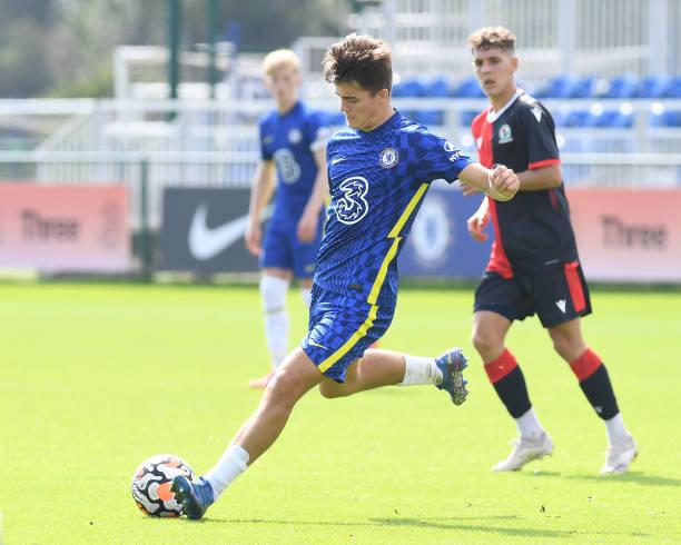Leo Castledine of Chelsea during the Chelsea v Blackburn Rovers U18 Premier League Cup Group D on September 18, 2021 in Cobham, England.
