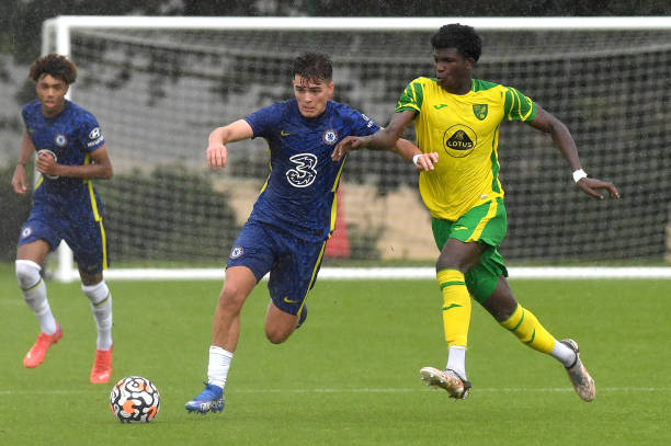 Leo Castledine of Chelsea wins the ball during the Norwich City v Chelsea U18 Premier League match at the Lotus Training Ground on August 28, 2021 in...
