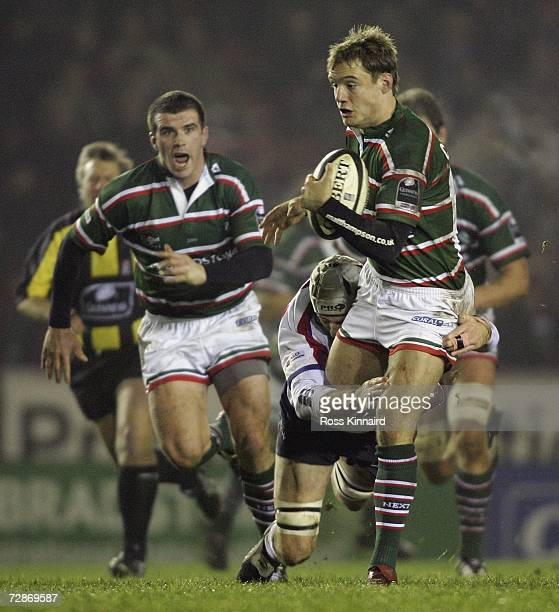 Leo Cullen of Leicester is tackled by Geraint Lewis of Bristol during the Guinness Premiership match between Leicester Tigers and Bristol at Welford...