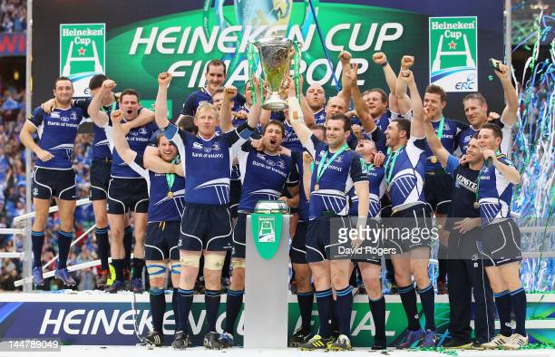 Leo Cullen of Leinster lifts the trophy with Shane Jennings after the Heineken Cup Final between Leinster and Ulster at Twickenham Stadium on May 19,...