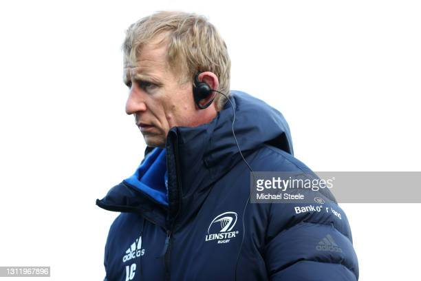 Leo Cullen the Head Coach of Leinster looks on during the warm up ahead of the Heineken Champions Cup Quarter Final match between Exeter Chiefs and...