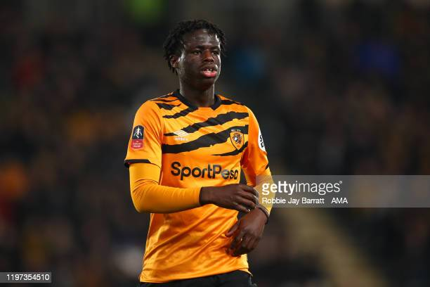 Leo Da Silva Lopes of Hull City during the Emirates FA Cup Fourth Round match between Hull City and Chelsea at KCOM Stadium on January 25, 2020 in...