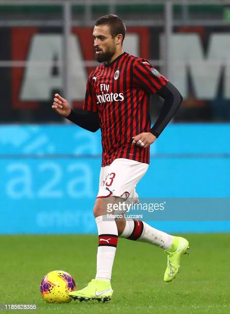 Leo Duarte of AC Milan in action during the Serie A match between AC Milan and SS Lazio at Stadio Giuseppe Meazza on November 3, 2019 in Milan, Italy.