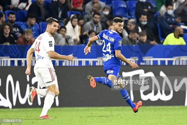 Leo DUBOIS - 24 Xavier CHAVALERIN during the Ligue 1 Uber Eats match between Lyon and Troyes at Groupama Stadium on September 22, 2021 in Lyon,...