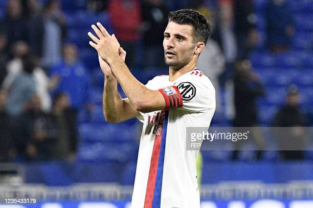 Leo DUBOIS during the Ligue 1 Uber Eats match between Lyon and Troyes at Groupama Stadium on September 22, 2021 in Lyon, France.