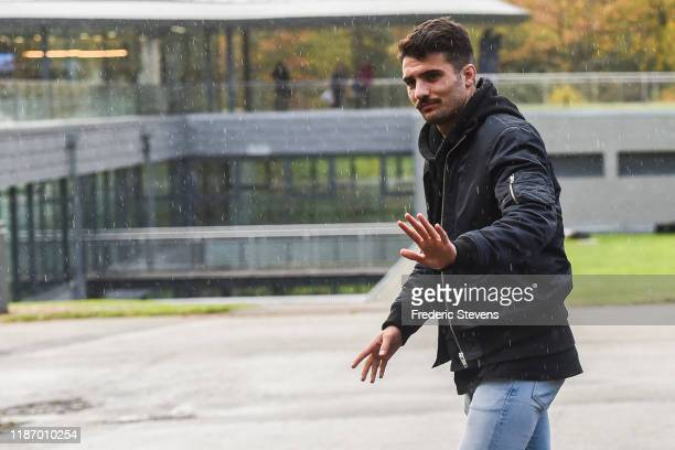 Leo Dubois of France arrives ahead of a training session on November 11 2019 in Clairefontaine France France will play against Moldova in their UEFA...