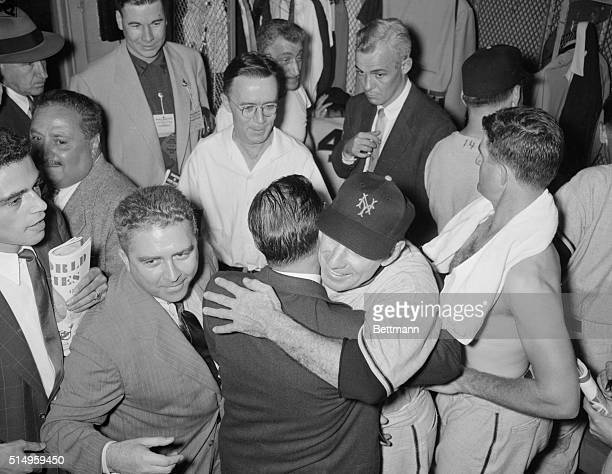 Leo Durocher New York Giants manager hugs an unidentified Giant official after his team clinched the 1954 World Series in four straight games In the...