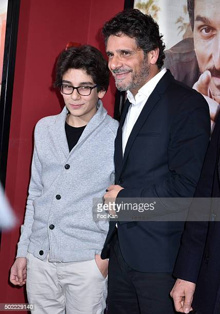 Leo Elbe and his father director Pascal Elbe attend 'Je Compte Sur Vous' Premiere at Publicis Cinema on December 21 2015 in Paris France