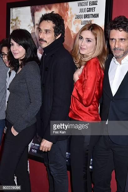 Leo Elbe Zabou Breitman Vincent Elbaz Julie Gayet and Pascal Elbe attend 'Je Compte Sur Vous' Premiere at Publicis Cinema on December 21 2015 in...