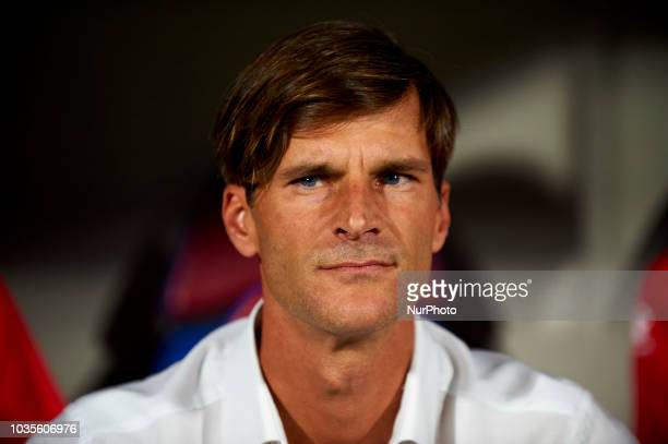 Leo Franco coach of Huesca before the match between SD Huesca against Rayo Vallecano at Alcoraz Stadium in Huesca Spain on September 14 2018