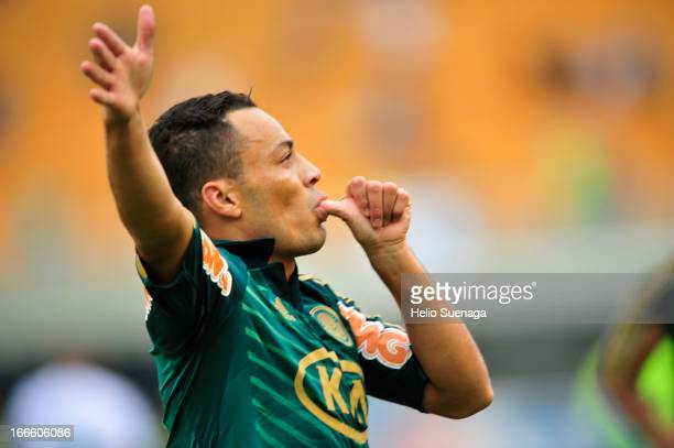 Leo Gago of Palmeiras celebrates a goal against Guarani during a match between Palmeiras and Guarani as part of Paulista Championship 2013 at...
