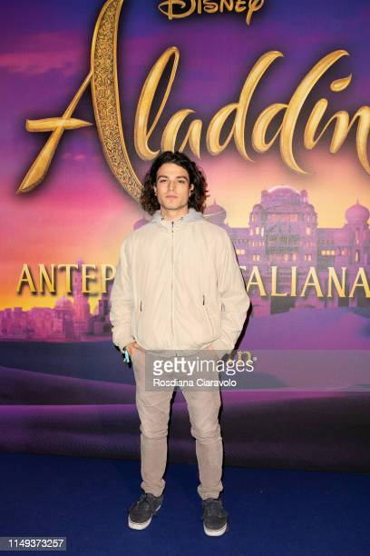 Leo Gassman attends the Aladdin photocall and red carpet at The Space Cinema Odeon on May 15 2019 in Milan Italy