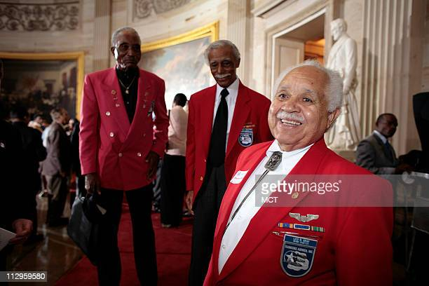 Leo Gray Eldridge Williams and Richared Rutledge attend the Tuskeegee Airmen Congressional Gold Medal ceremony in the US Capitol Rotunda in...