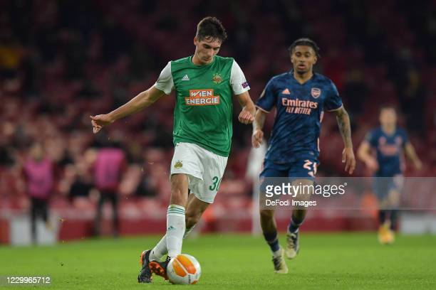 Leo Greiml of Rapid Vienna controls the ball during the UEFA Europa League Group B stage match between Arsenal FC and Rapid Wien at Emirates Stadium...