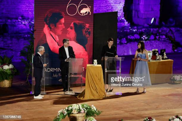 Leo Gullotta and Charlotte Dauphin attend the closing night of the Taormina Film Festival on July 19 2020 in Taormina Italy