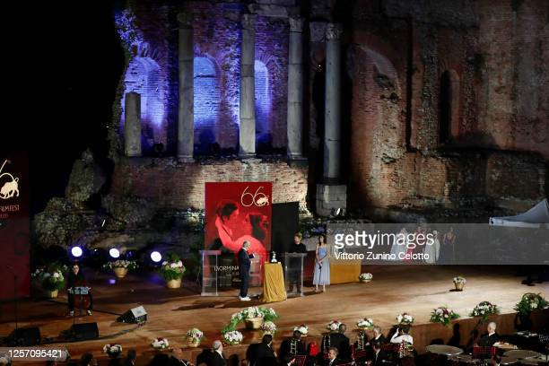 Leo Gullotta and Willem Dafoe attend the closing night of the Taormina Film Festival on July 19 2020 in Taormina Italy