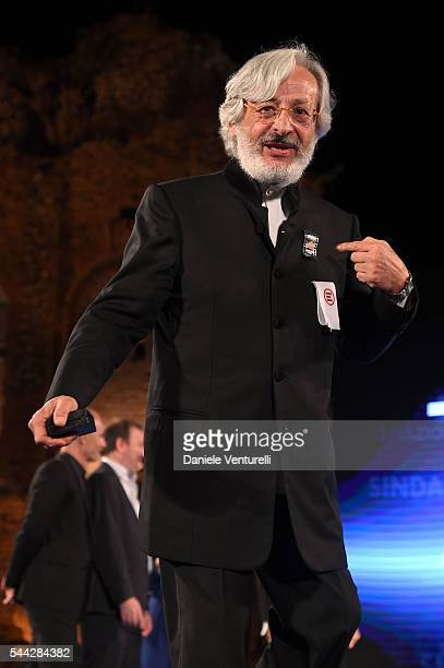 Leo Gullotta receives Nastro D'Argento on stage during the Nastri D'Argento Awards Ceremony on July 2 2016 in Taormina Italy