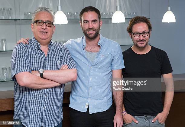 Leo Harlem, Jon Plazaola and Carlos Santos attend the 'Villaviciosa De Al lado' photocall at Warner Bros office on June 23, 2016 in Madrid, Spain.