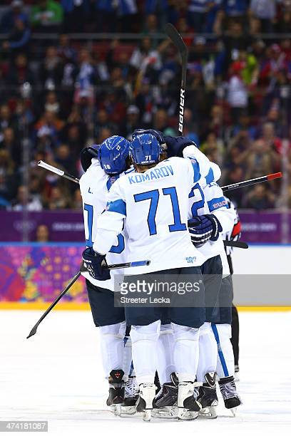 Leo Komarov of Finland and teammates celebrate a goal in the third period against the United States during the Men's Ice Hockey Bronze Medal Game on...