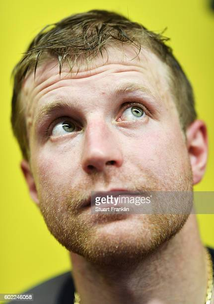 Leo Komarov of Finland looks on during an interview after practice for Team Finland at the Hartwell Areena on September 7 2016 in Helsinki Finland
