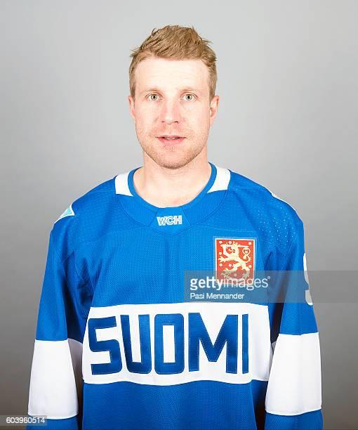 Leo Komarov of Team Finland poses for his official World Cup of Hockey head shot at Radisson Blu Plaza Hotel Helsinki on September 4 2016 in Helsinki...