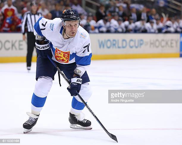 Leo Komarov of Team Finland prepares for a faceoff against Team Russia during the World Cup of Hockey 2016 at Air Canada Centre on September 22 2016...