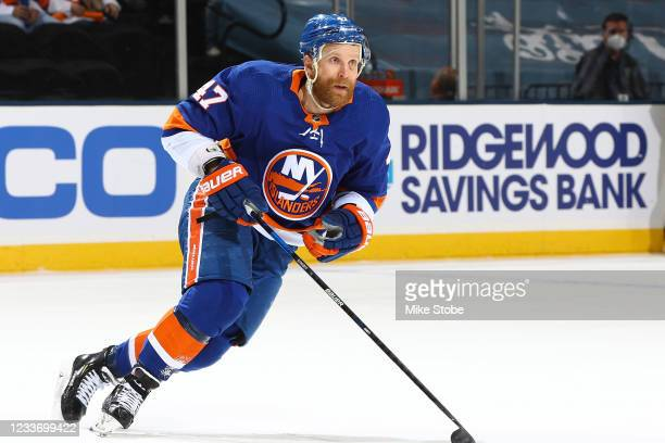 Leo Komarov of the New York Islanders in action against the Tampa Bay Lightning in Game Six of the Stanley Cup Semifinals of the 2021 Stanley Cup...