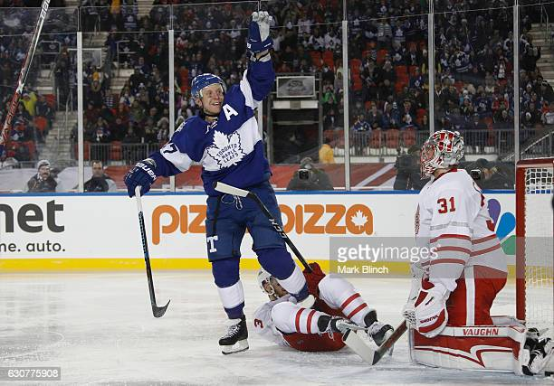 Leo Komarov of the Toronto Maple Leafs celebrates his goal on Jared Coreau of the Detroit Red Wings during the third period of the 2017 Scotiabank...