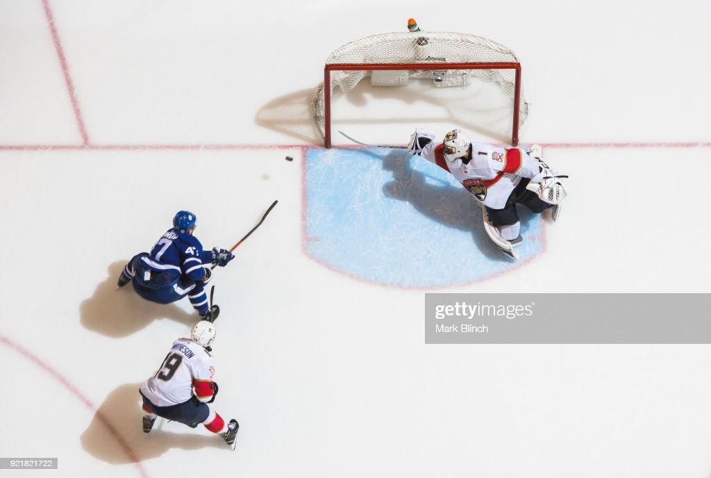 Leo Komarov #47 of the Toronto Maple Leafs hits the post of Roberto Luongo #1 of the Florida Panthers during the third period at the Air Canada Centre on February 20, 2018 in Toronto, Ontario, Canada.
