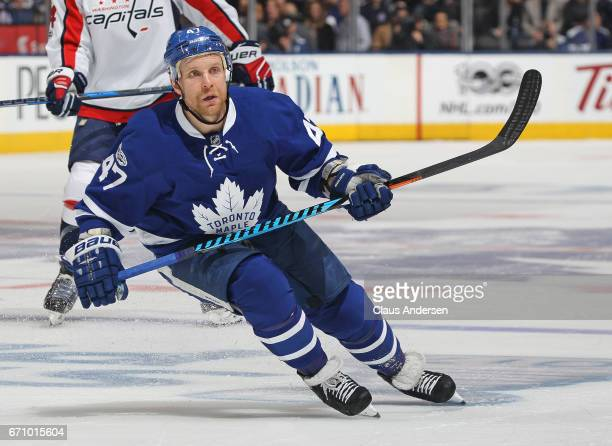 Leo Komarov of the Toronto Maple Leafs skates against the Washington Capitals in Game Four of the Eastern Conference Quarterfinals during the 2017...