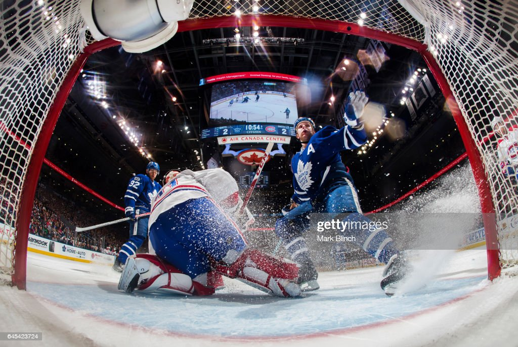 Leo Komarov #47 of the Toronto Maple Leafs stops as Carey Price #31 of the Montreal Canadiens makes a save during the third period at the Air Canada Centre on February 25, 2017 in Toronto, Ontario, Canada.