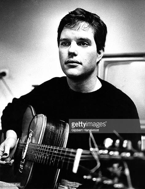 Leo Kottke posed with an acoustic guitar at VPRO radio station Hilversum Netherlands in 1973