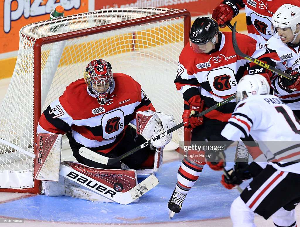 Leo Lazarev #37 of the Ottawa 67's makes a save during the third period of an OHL game against the Niagara IceDogs at the Meridian Centre on November 18, 2016 in St Catharines, Canada.