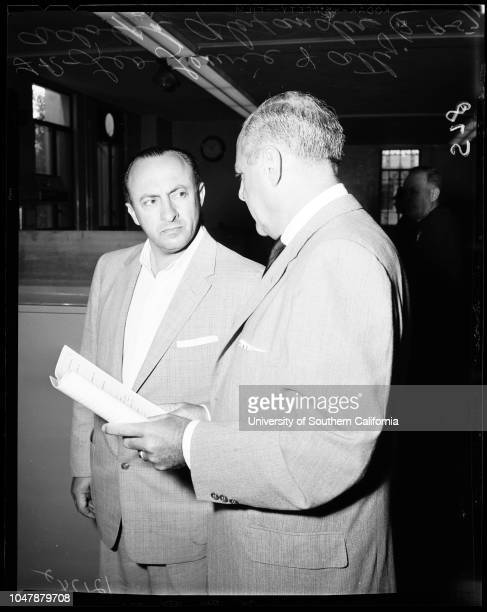 Leo Lewie double murder 19 July 1957 Leo Lewie Attorney Adolph AlexanderCaption slip reads 'Photographer Snow Date Reporter Sid Bernstein Assignment...