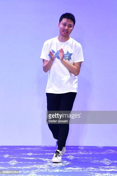 Leo Lin thanks the audience following the Leo Lin show at MercedesBenz Fashion Week Resort 19 Collections at Carriageworks on May 17 2018 in Sydney...