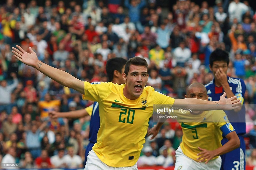 Leo Lohner of Brazil celebrates a scored goal during the FIFA U17 World Cup Mexico 2011 Quarter Final match between Japan and Brazil at the La Corregidora Stadium on July 03, 2011 in Queretaro, Mexico.