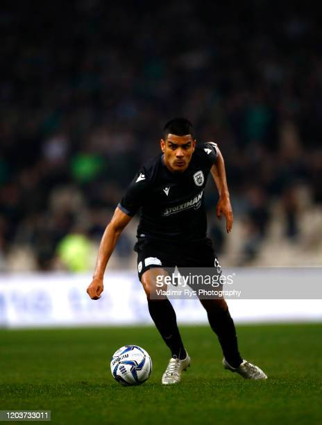 Leo Matos of PAOK in action during the Greece SuperLeague match between Panathinaikos FC and P.A.O.K. At OAKA Stadium on February 02, 2020 in Athens,...