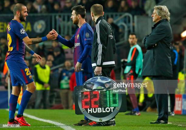 Leo Messi and Aleix Vidal during the UEFA Champions League match between FC Barcelona v Sporting CP in Barcelona on December 05 2017