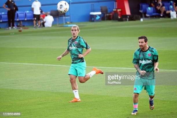 Leo Messi and Antoine Griezmann during the friendly match between FC Barcelona and Girona FC played at the Johan Cruyff Stadium on 16th September...