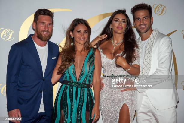 Leo Messi and Antonella Rocuzzo attend Cesc Fabregas and Daniella Semaan's wedding party on July 24 2018 in Ibiza Spain